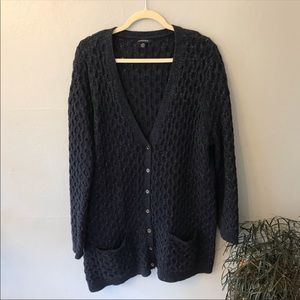 Lands End Cable Cardigan 2X Navy Blue